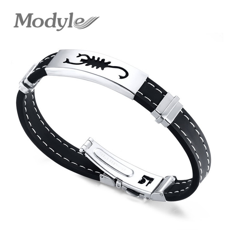 Wholesale 2016 New Fashion Men Leather Stainless Steel Bracelets Vintage Scorpions Bangles(China (Mainland))