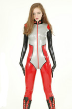 Costom Black Red Sexy Latex Full Body Tights Latex Catsuit Bodysuit Leotard for Woman and men (RJ-44)(China (Mainland))