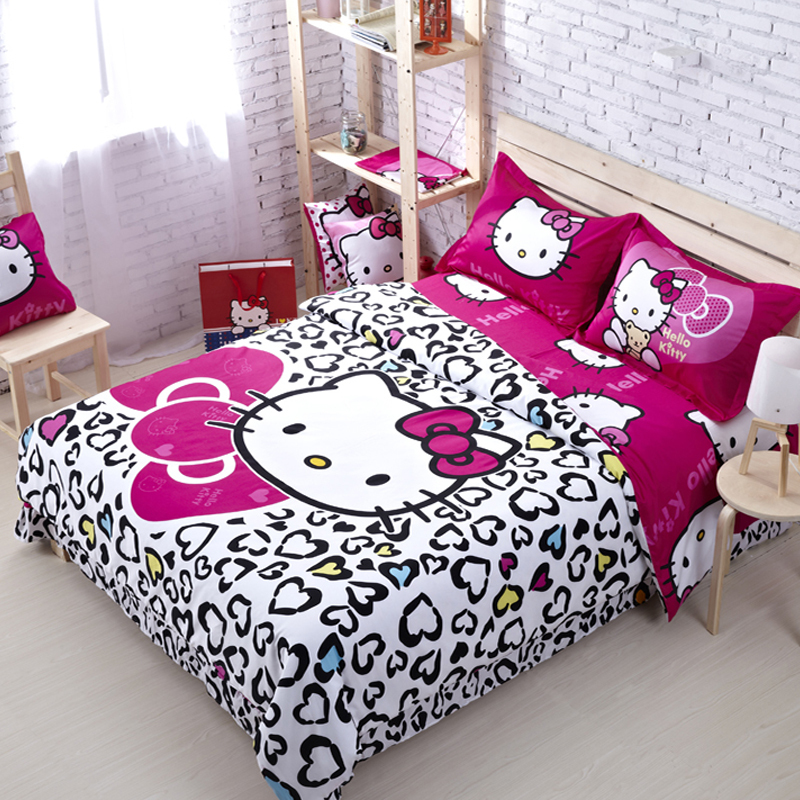 100% Cotton Hello Kitty Queen Size Bedding Comforter Set Anime Bed Sheets Linens Designer Brand Bedding Sets Girls Bedclothes(China (Mainland))