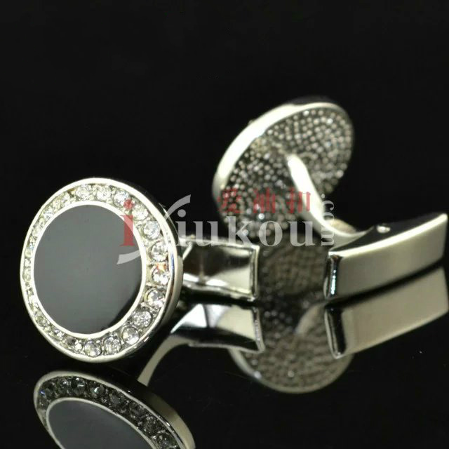 Cuff Links High Quality Copper Black Onyx Round Design with CZ Shirt Cufflinks for Men Gift Wholesale(China (Mainland))