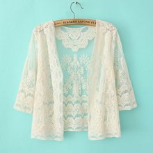New Women Shawl Collar long Sleeve Chiffon Lace Crochet Cardigan Tank Tops Blouse Vest Blusas Feminias