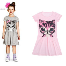 Sweet Princess Child Cloth Casual Dress Party Print Girl Dress Loose Wear Sweet Animal Short Sleeve Girls Clothing 25