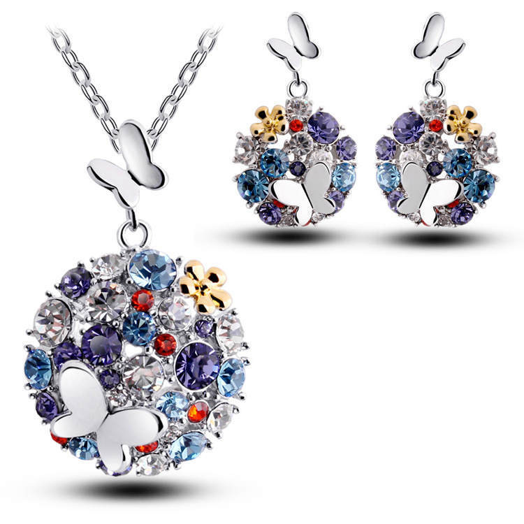2015 trendy Newest 18K Gold Plated Crystal African Fashion Costume Jewelry Sets for Women Butterfly Necklace Earrings Sets Y4956(China (Mainland))
