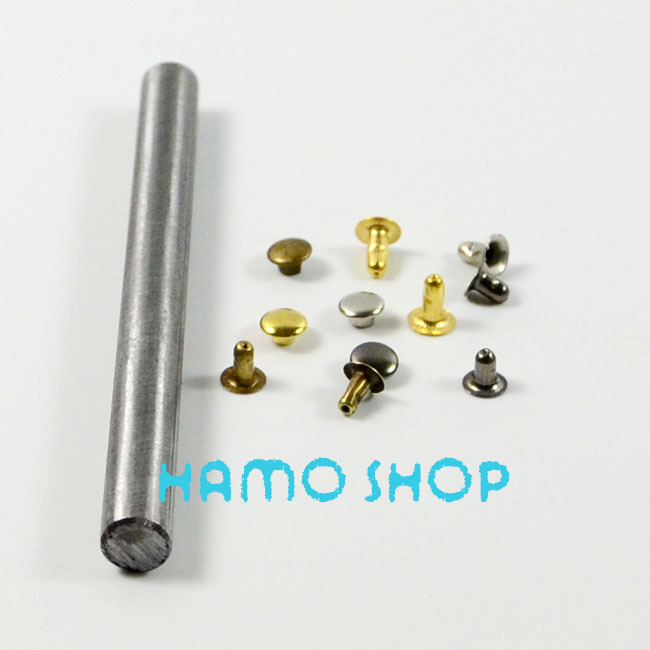 100pcs/lot 6mm Mix Color Free Shipping Metal Fashion Flat Circle Rivet Spike Studs With Tool Leather Clothing Decoration(China (Mainland))