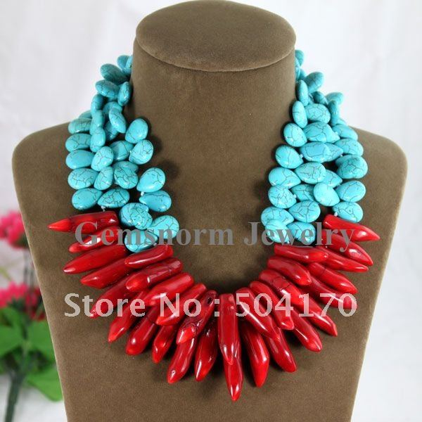Latest Fashion 2 Rows Teardrop 13*15mm Double Turquoise Necklace Natural Red Coral Pendant Wedding Gifts Free Shipping TN070(China (Mainland))