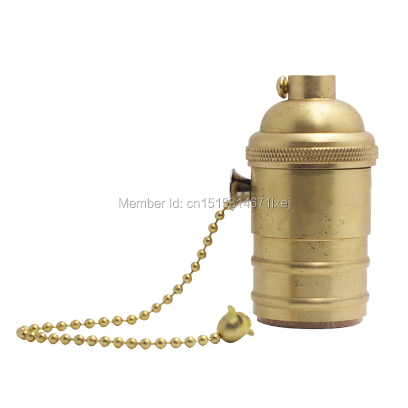 free shipping E27/E26 antique Edison style Light Socket Vintage Copper Lamp Holder with pull chain(China (Mainland))