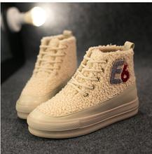 2016 nueva llegó rebaño plataforma de invierno mujer botas de nieve de algodón acolchado zapatos casuales 4 color 35-39size(China (Mainland))