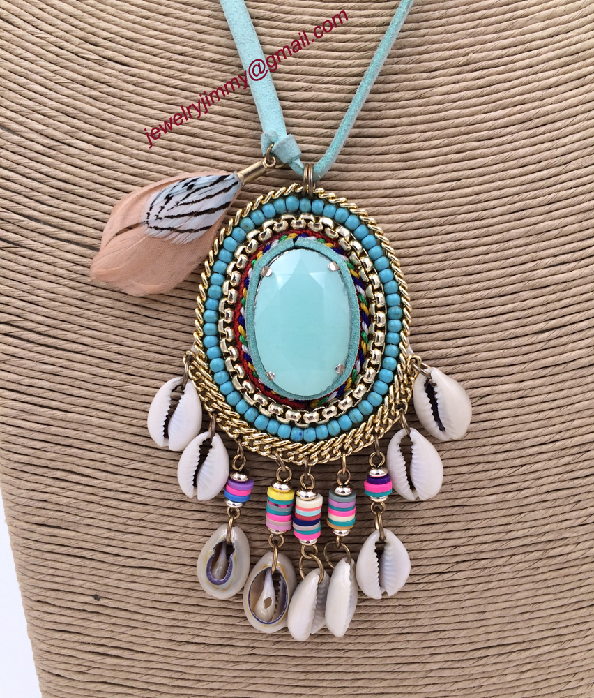 2015New personalized handmade jewelry supplier Turquoise pendant beaded chain boho long Necklaces for women<br><br>Aliexpress