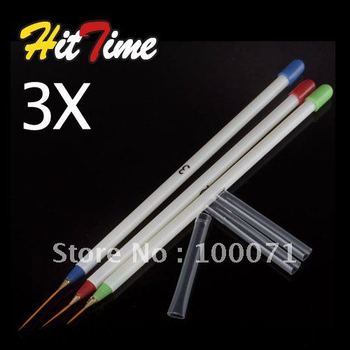 3 X Nail Art Acrylic Tips Ongle Liner Painting Drawing Brush Pen #3605