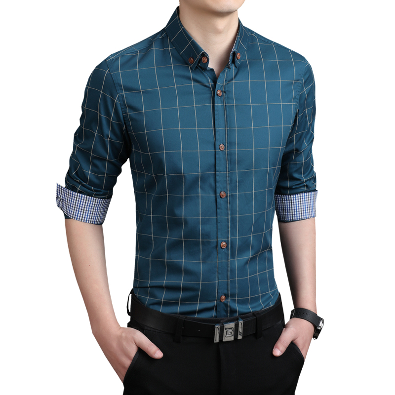 Casual mens shirts slim fit m 5xl 100 cotton 2015 mens for Tailored shirts for men