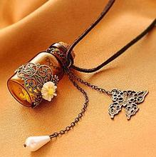 Fashion jewelry 2014 necklace Carved long leather cord necklaces & pendants retro cork Wishing bottle sweater chain