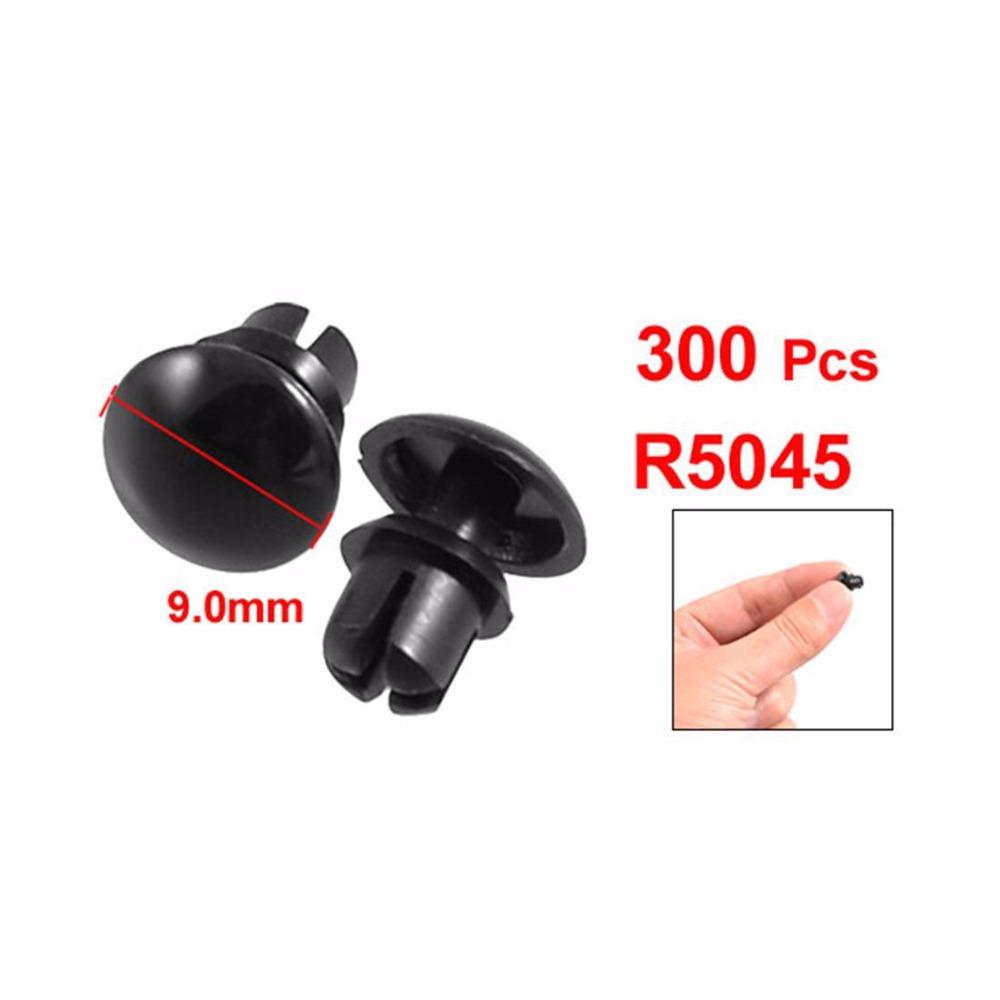 300 Pcs Dia Hole Black Plastic Push Fastener Rivets Clips(China (Mainland))