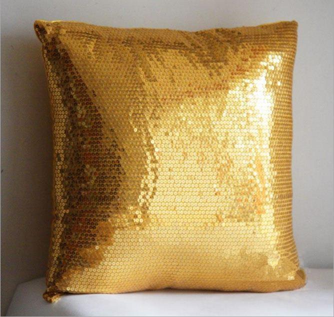 Buy Gold Sequin Pillow Decorative Cushion