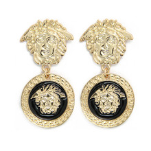 Medusa Lion Head Gold Tone Fashion Summer Style Brincos Earrings for Women Pendientes Bijoux Jewelry CE147