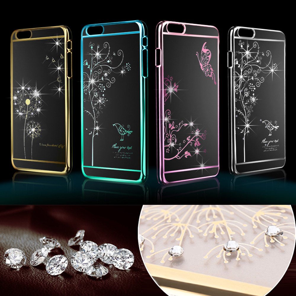 Luxury Crystal Rhinestone Case cover For iPhone 6 4.7inch Diamond Gold Slim Shining Bling Electroplating with Drill Phone case(China (Mainland))
