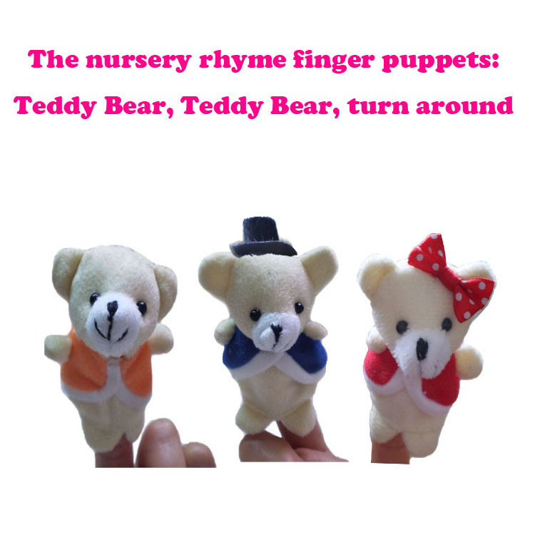 Retail Baby Toys Nursery Rhyme Puppets-Teddy Bear Turn Around Plush Finger Puppet Pattern For Kids Educational Talking Props(China (Mainland))