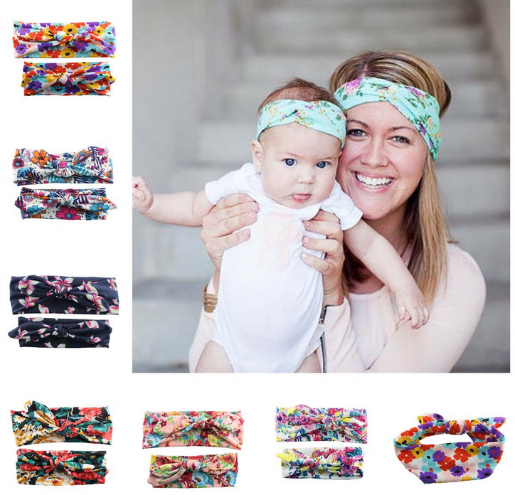 2pcs/set Europe&US Parent-Child Headband Mother Baby Hair band Women Kids Bow Hairband 2016 Fashion Child Accessory Para Cabelo(China (Mainland))
