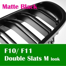 Free airmail postage Double Slat M look Matte Black front kidney grille for BMW 2011~2014 F10 F11 5-series Sedan Touring(Taiwan)