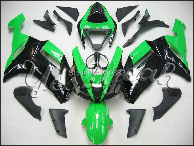 Motorcycle Fairing kit for KAWASAKI Ninja ZX6R 07 08 ZX6R 636 2007 2008 Brand new green black ABS Fairings set +7 gifts SC91(China (Mainland))