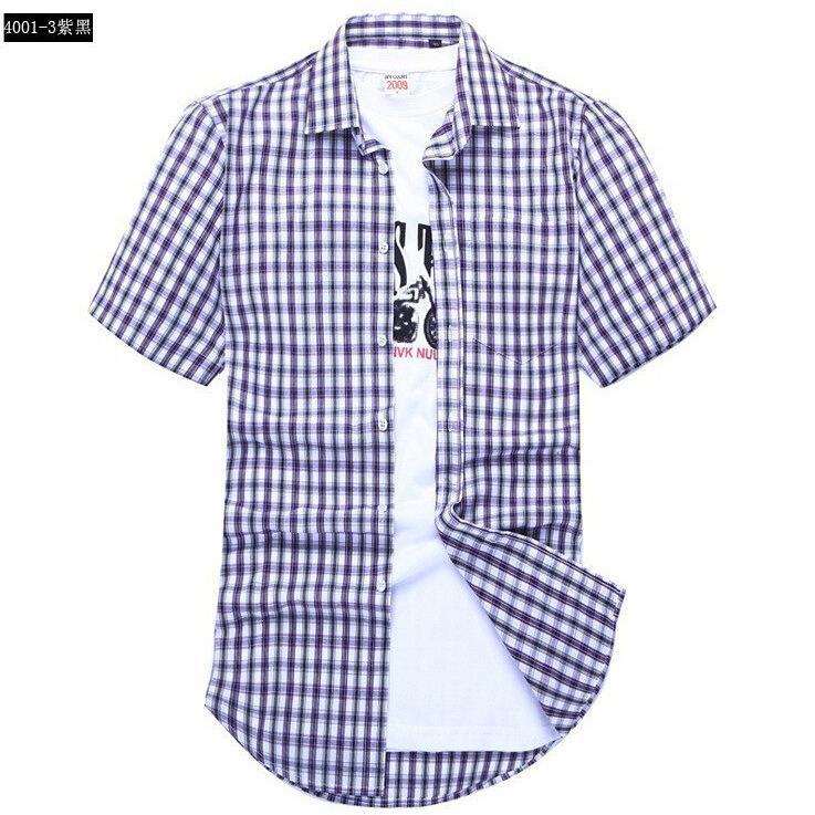 Men s short sleeved plaid shirt summer new fashion England shirt mens slim fit casual shirts