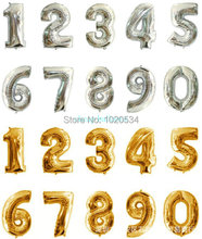 New! 16inch 10pcs gold sliver 0-9 number helium foil balloons for party wedding birthday decorations mylar globas(China (Mainland))