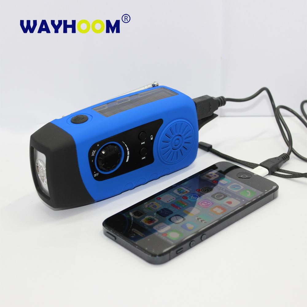 Crank Phone Charger Emergency Generator Flashlight USB Recharger Solar ...