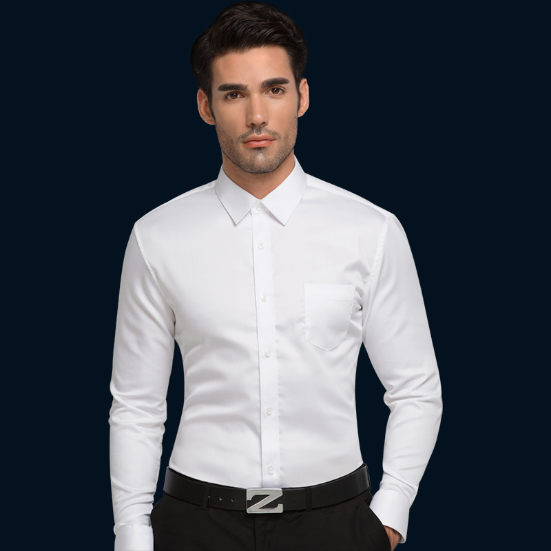 white male autumn shirt commercial long sleeve slim shirt