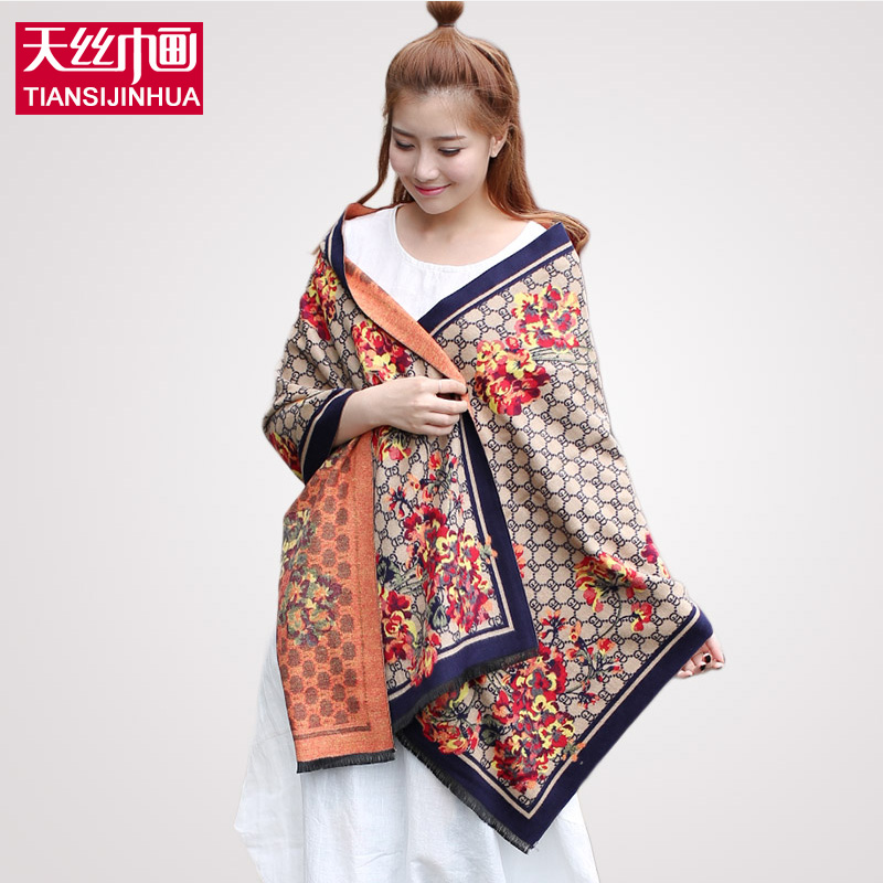 190*60cm 2016 Brand Poncho Women Knitted scarf cotton voile scarves plaid warm winter pashmina shawl floral printed(China (Mainland))