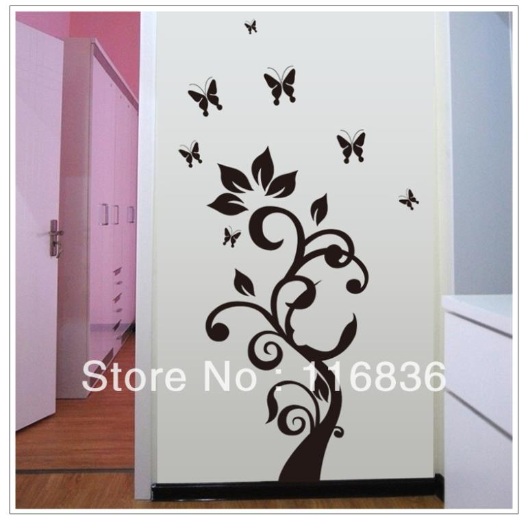 Free Shipping big size new product 2014 decorative black tree with butterfly for home decal removable decoration diy PVC sticker(China (Mainland))