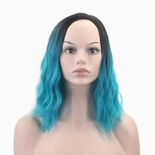 JOY & BEAUTY 30 см короткие вьющиеся волосы парик розовый синий красное вино Омбре черный корень синтетический Высокая температура волокна волос ...(China)