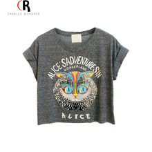Latest New Women Loose Gray Owl Pattern Crop Top with ALICE'S ADVENTURES IN WONDERLAND Letters Print One Size Free Shipping