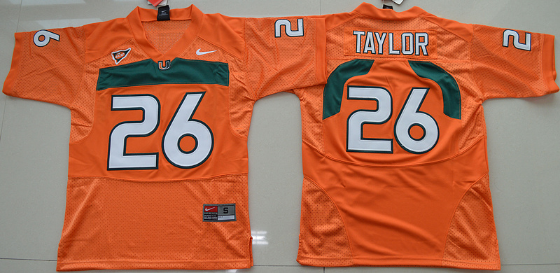 New Arrival High Quality Nike Miami Hurricanes Sean Taylor 26 College T-shirt Jersey - Orange Size S,M,L,XL(China (Mainland))