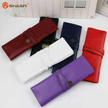 1pcs New Style Roll Pu Leather Pen Pencil Case Retro School Student Office Supplies(China (Mainland))