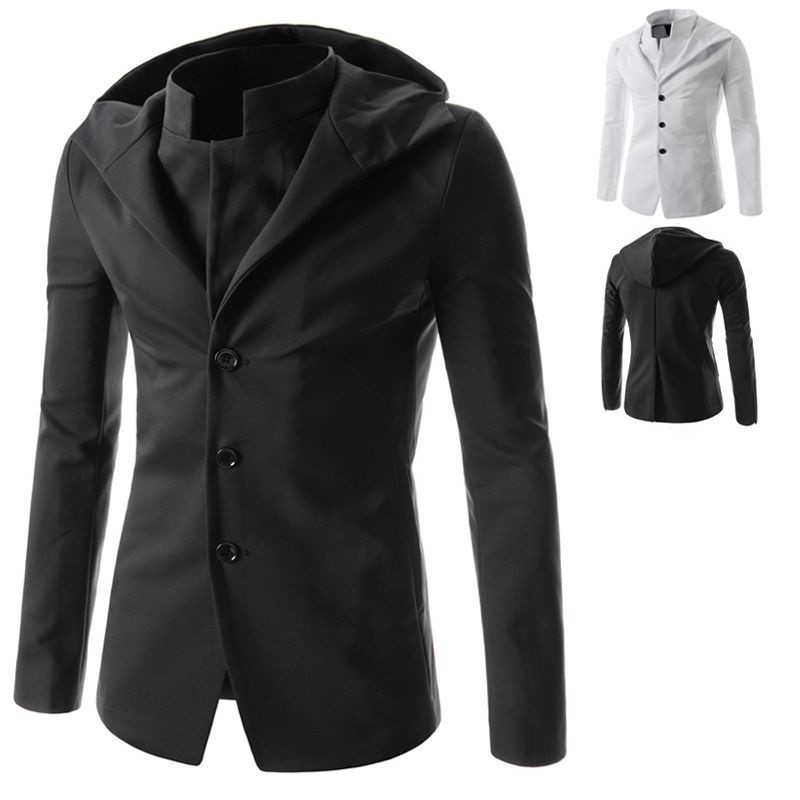 GENTLEMAN Fashion Men Jacket White Black Outerwear For Man Long Sleeve Jackets And Coats Men's Single Breasted Casual Blazer Y53