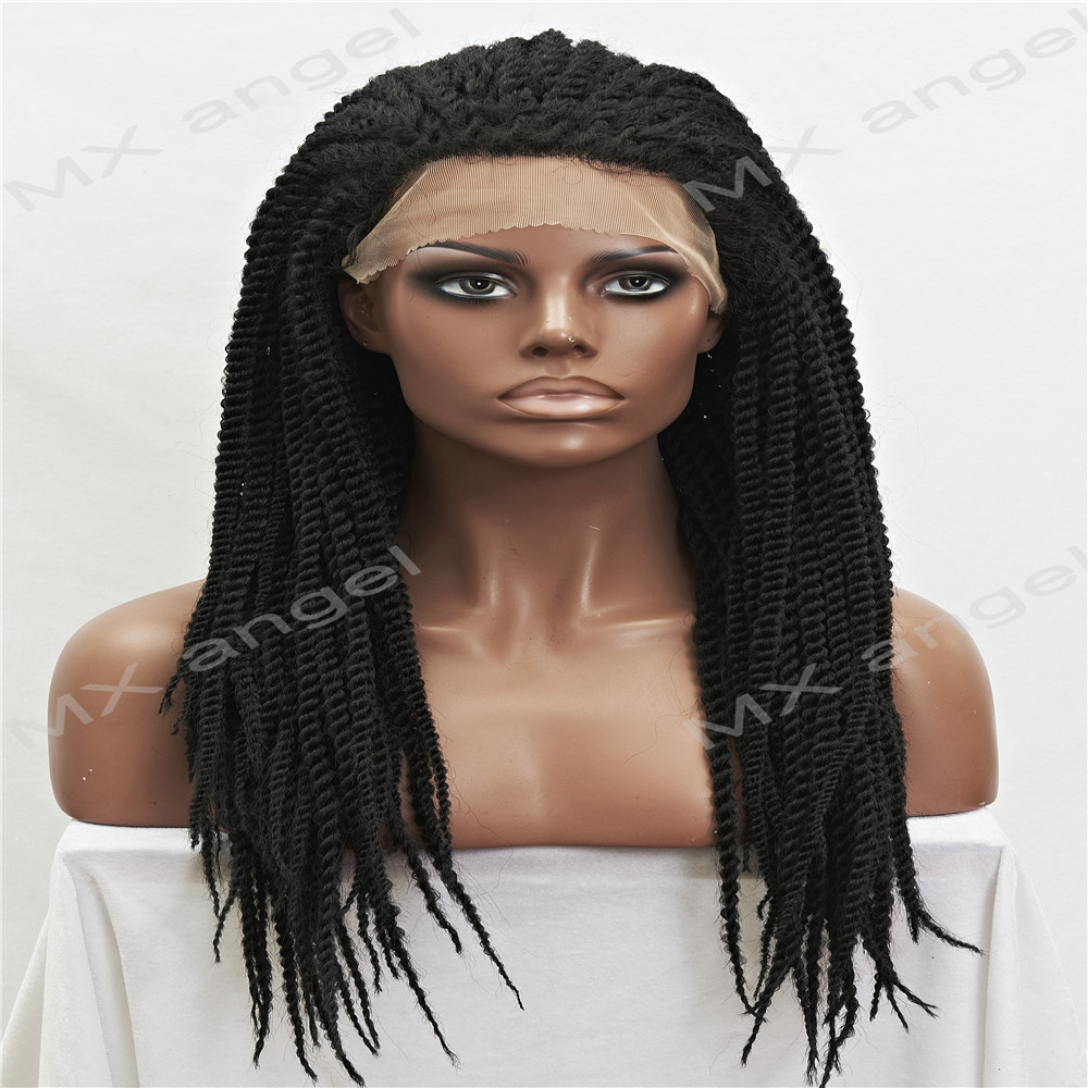 Фотография Cheap Stylish Synthetic Heat Resistant Micro Braided Wigs African American Hair Braiding Styles Long Jet Black Color Wigs