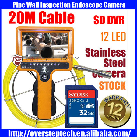 20M real color video sewer pipe inspection camera with SD card(China (Mainland))