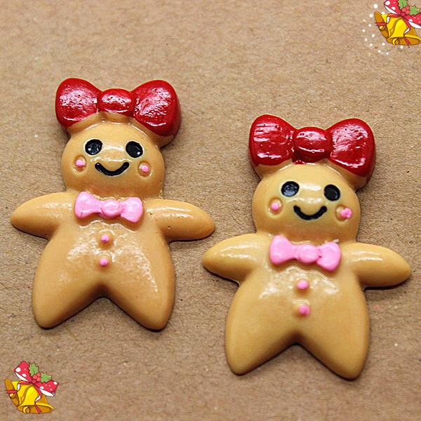 free shipping! wholesale 100pcs/lot very cute girl christmas ginger bread resin flat back cabochon for DIY making(China (Mainland))