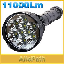 11000 Lumen Super Bright 9X XML T6 LED Flashlight Torch