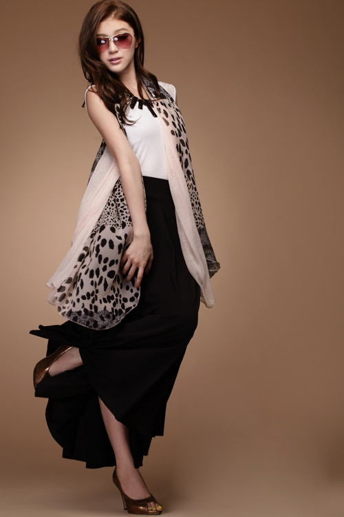 e 118601 color irregular leopard print slitless freckling of color block scarf silk scarf 130g