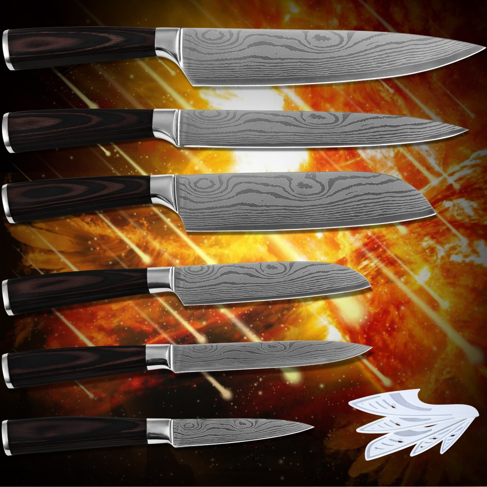 Buy Kitchenware paring utility 2*santoku slicing chef kitchen knives stainless steel Damascus flowing sand pattern new cooking tools cheap