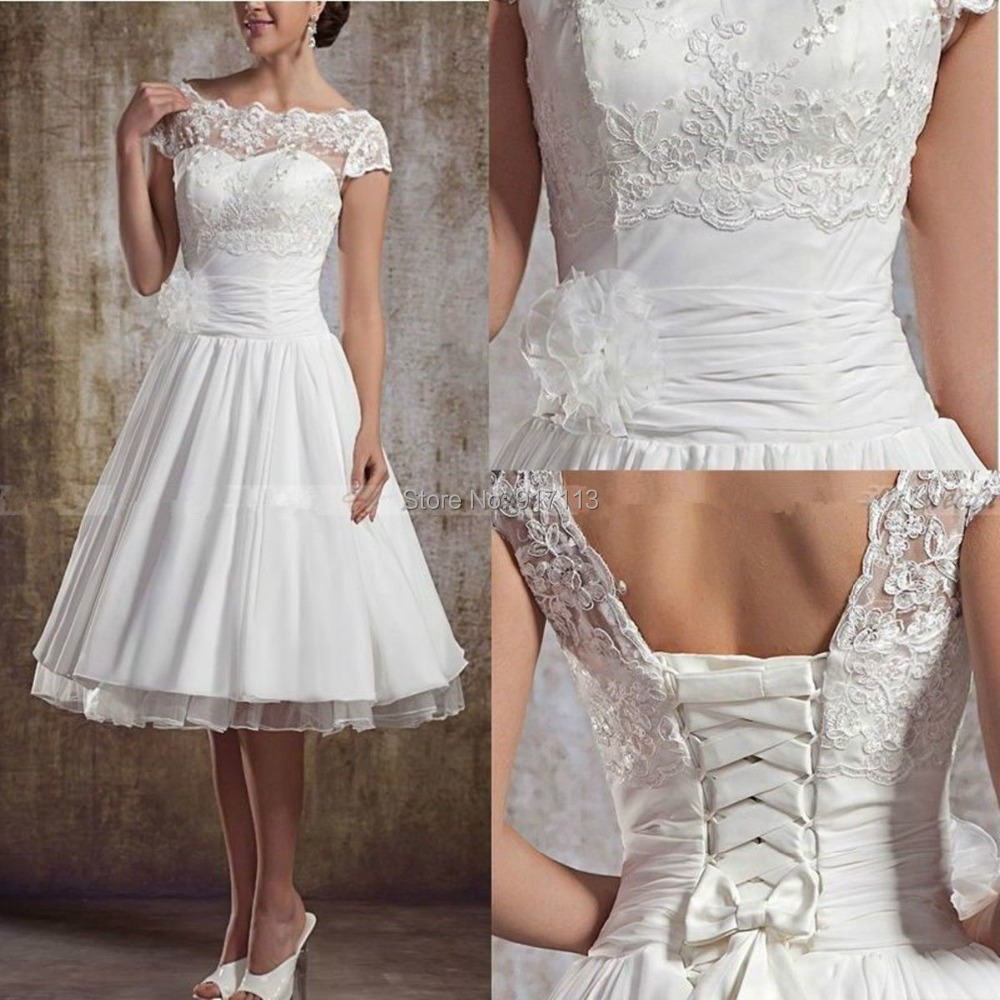 Vestido de noiva curto fashionable white ivory a line for Mid length wedding dress