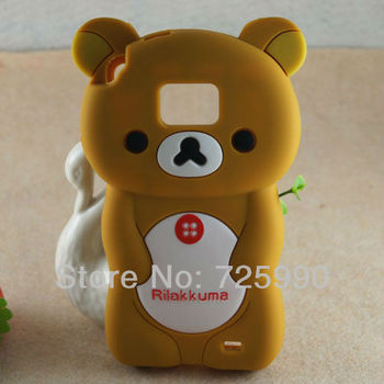 Wholesale 10pcs/lot Phone Case For Samsung I9100 Galaxy SII S2 3D Rilakkuma Bear silicone Soft cover  Free Shipping