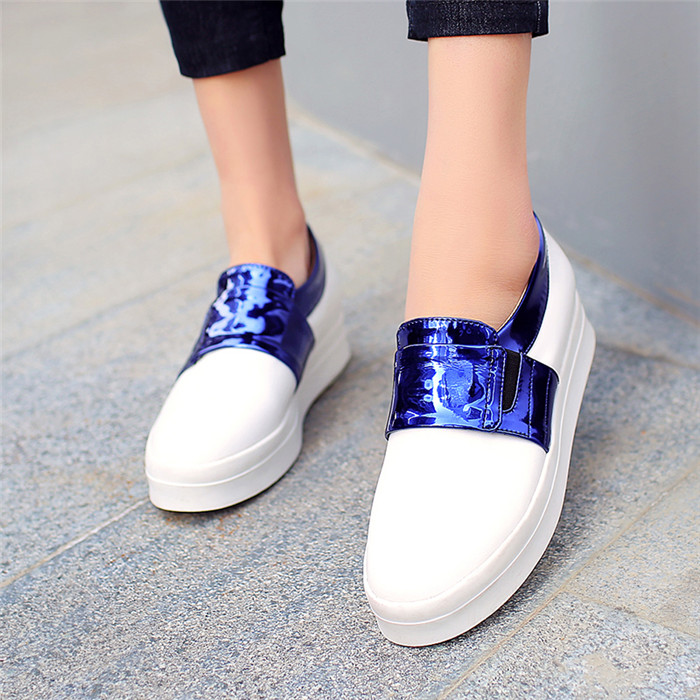 Ladys Plus Size Eur 40 41 42 Female Platform Casual Fashion Womens Loafers Patent PU Leather Mixed Color Golden Blue Flats Shoes<br><br>Aliexpress