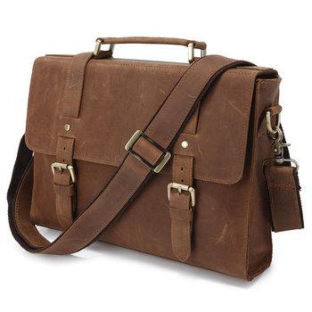 2015 Hot Selling Crazy Horse Cow Leather Men's business Briefcase Laptop Bag vintage shoulder Messenger Bag for men handbag