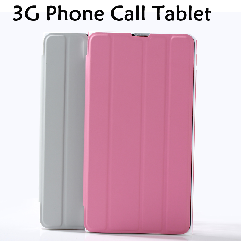 7 Inch New Design Phone Call Android 4.4 Tablette Pc Sim Card 3G Bluetooth Support Google Play Market leather case cover WCDMA(China (Mainland))
