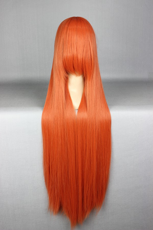 MCOSER High Quality Classical Design Orange 100cm Long Straight Fashion Women Hair Anime Cosplay Full Wig 018i(China (Mainland))