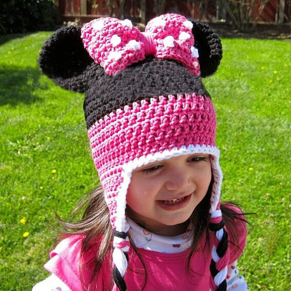 Lovely Minnie Design Baby Crochet Winter Hat Knitted ...