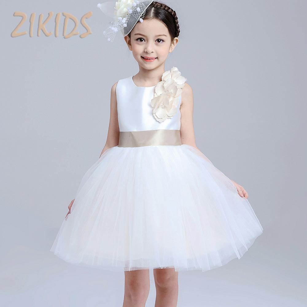 flower girls dresses party wedding Summer Sleeveless White Princess Dress Kids Clothes Children Clothing 2016 Brand Sale(China (Mainland))
