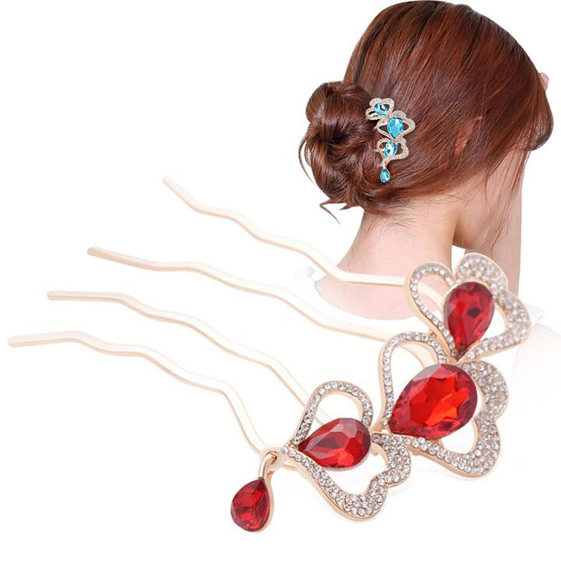 2015 Luxury Rhinestone Heart Cystal Comb Hair Flower Ponytails Combs Hair Ornament Wedding Jewelry(China (Mainland))
