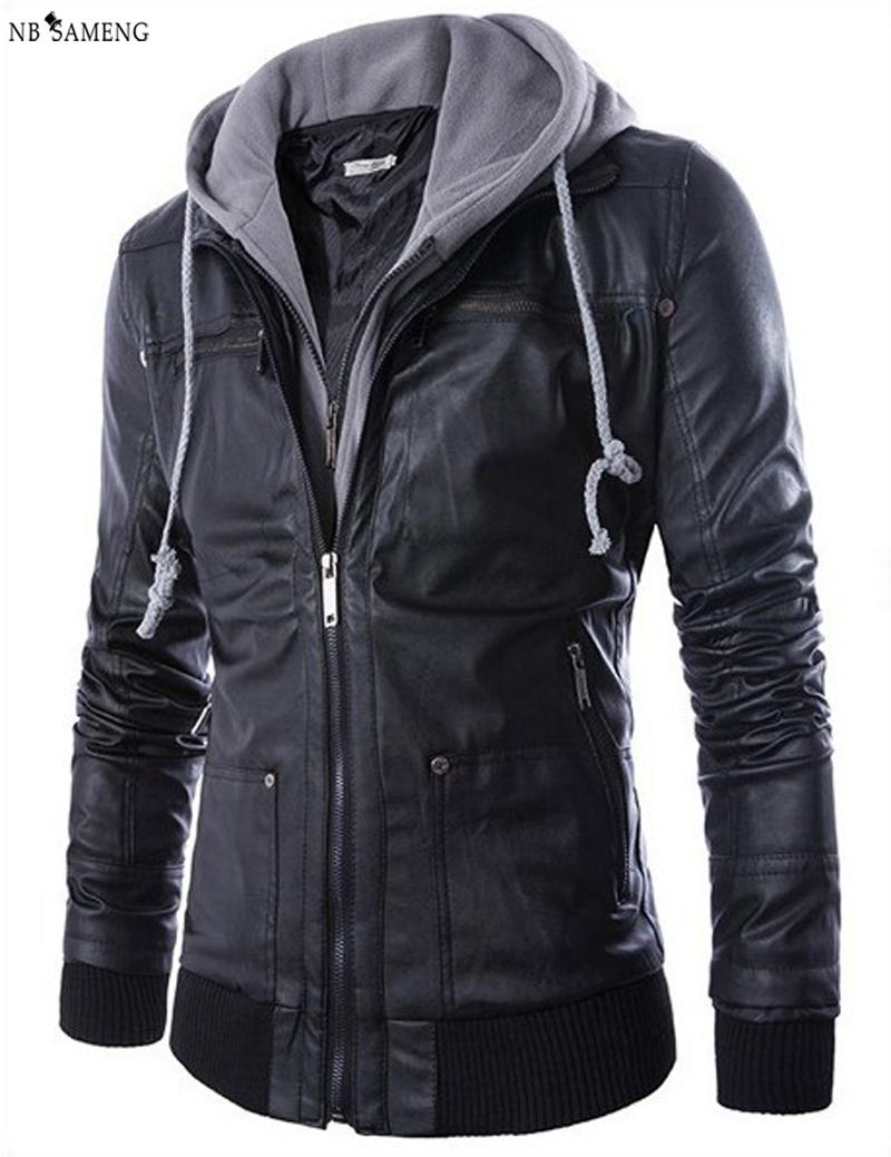 Plus Size Detachable Hooded Men Faux Leather Jacket Black Biker Motorcycle Mens PU Leather Coat Slim NSWT3000